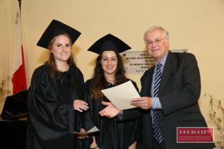 Richard presents an LLCM diploma in Piano duet performance